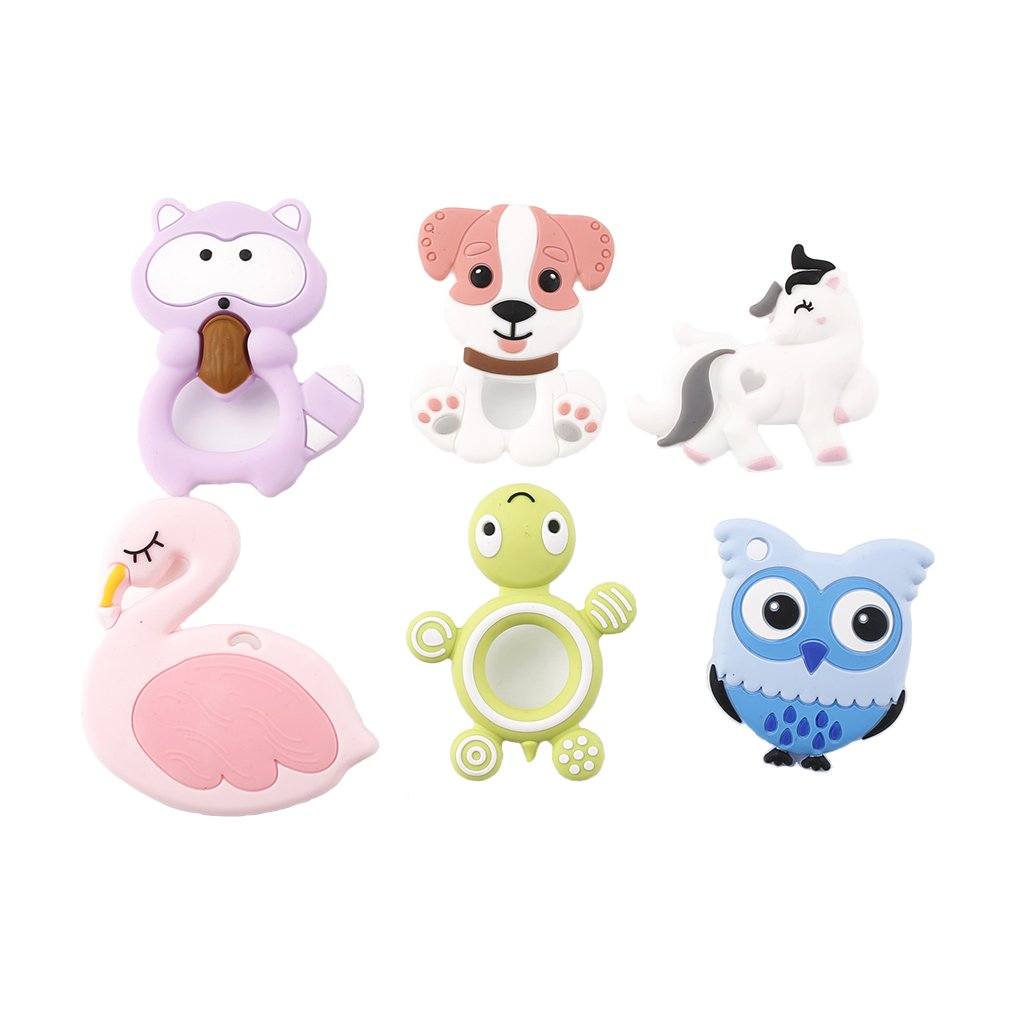 Biter teether Baby Silicone Teether Babies& Toddlers Teething Toy DIY Pendants Lovely Animal 6pc Colorful Chewable Jewelry Beads
