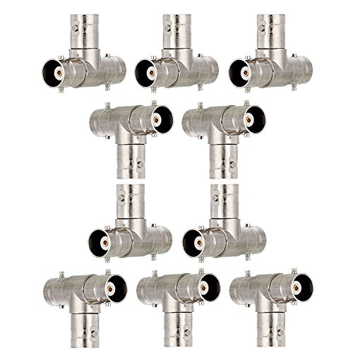 Connectors Av Accessories - Zytree(TM)10pcs/pack 3 BNC Female T/Tee Shape Connector kit for CCTV/DVR/AV Devices Accessories Tools