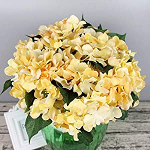 Lannu Artificial Silk Hydrangea Flowers Fabric Floral Natural Fake Hydrangea Flower Wedding Home Flower Wall Decor Pack 2 ... (7 Heads Champagne) 2
