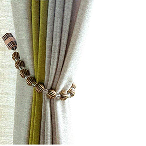Rayon Curtain - Joyci Curtain Tiebacks Europe Simple Type Magnetic Drape Holdbacks Set of 2 Stylish Rayon Bead (Coffee)