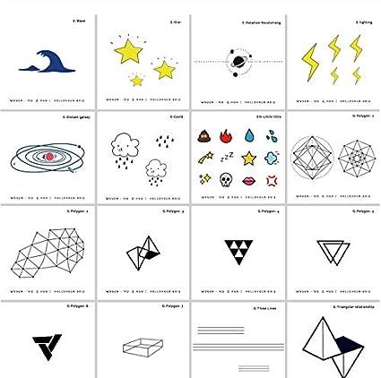 yyyDL Diseño Geometría Tatuaje falso Naturaleza Estrella Brazo ...