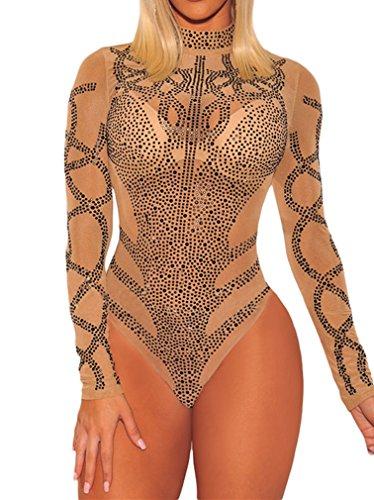 Seamless Teddy - BarbedRose Women's Sexy Long Sleeve Mesh Bodycon Mock Neck Onesies Bodysuit,Khaki,L