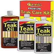 Premium Teak Care Kit - 3 Easy-to-use (32 Oz) Products to Restore, Beautify & Protect Marine Teak (946