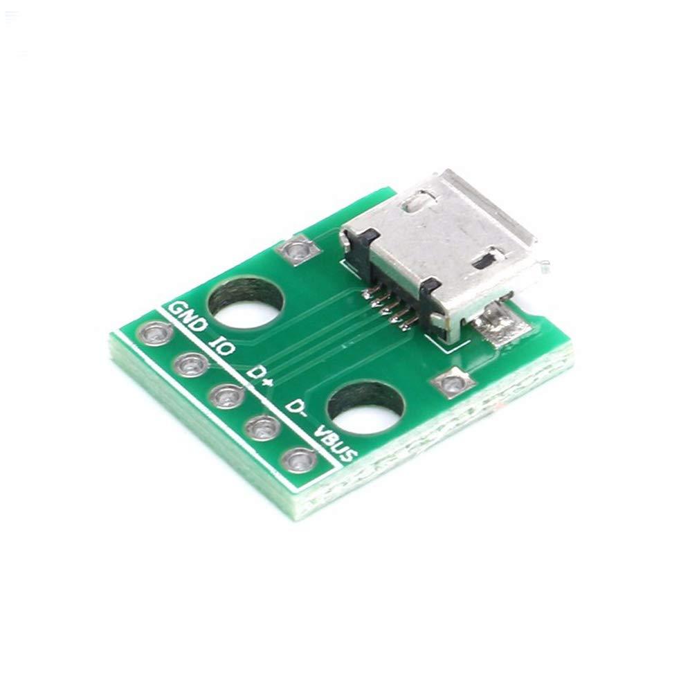 Lot de 10 adaptateurs Micro USB vers DIP femelle 5 broches Connecteur femelle B Type PCB Convertisseur Carte daffichage 2,54 Micro USB