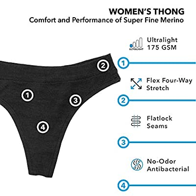 Woolly Clothing Women's Merino Wool Thong Brief - Ultralight - Wicking Breathable Anti-Odor XL BLK at Women's Clothing store