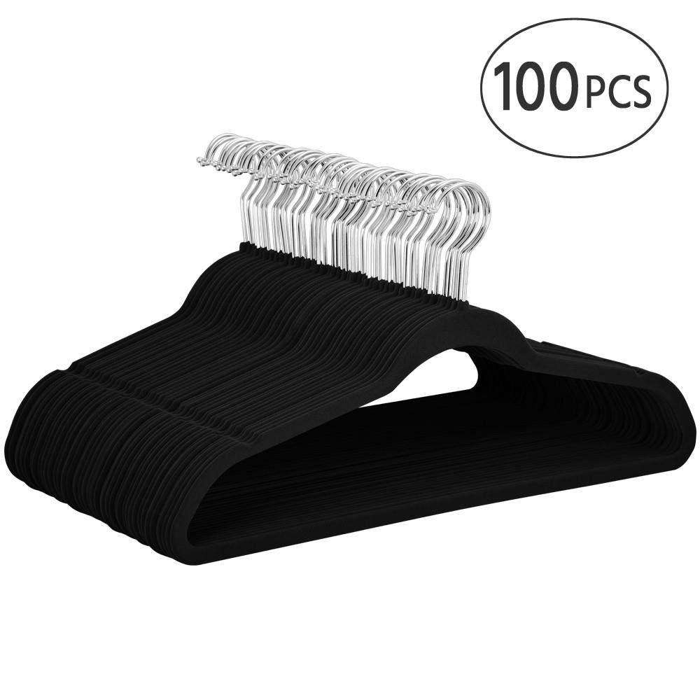 Yaheetech Non Slip Velvet Hangers - 100 Pack Clothes Hanger Hook Swivel 360 - Black by Yaheetech