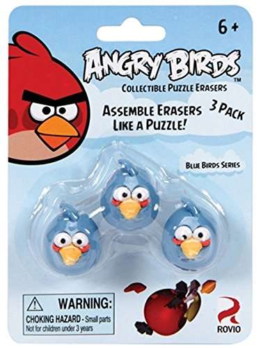 Angry Birds Blue Bird Collectible Puzzle Erasers,3 ()