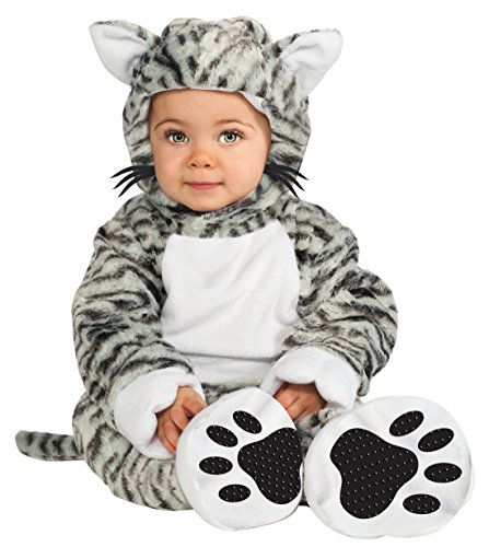 Rubie's Costume Cuddly Jungle Kit Cat Cutie Romper Costume, White/Black, 12-18 Months - White Cat Costume Kit