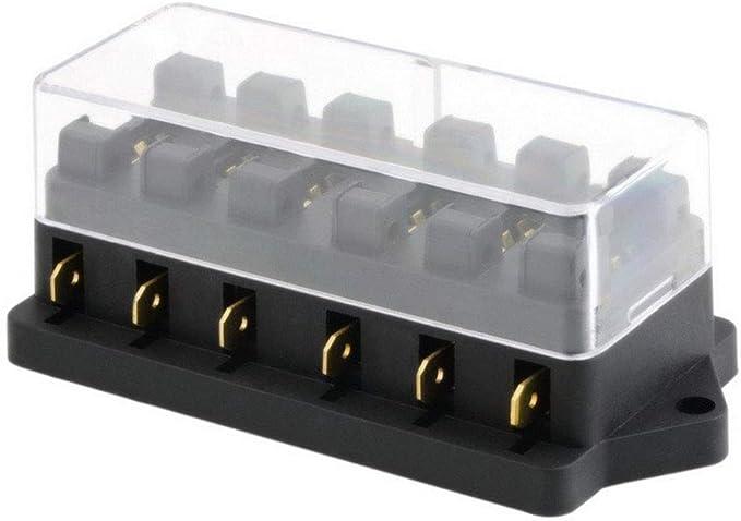 12V 24V 6 Weg Sicherungshalter mit Schutzh/üLle APM ATM Sicherungen 5A 10A 25A f/ür KFZ Auto Boot Marine Dreirad NBVNBV Mini Blatt Sicherungskasten Halter