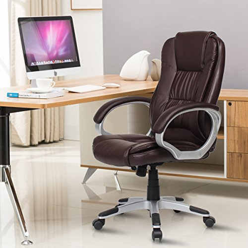 YAMASORO Ergonomic Leather Office Chair High Back Computer Executive Desk Chair with Armrest Brown