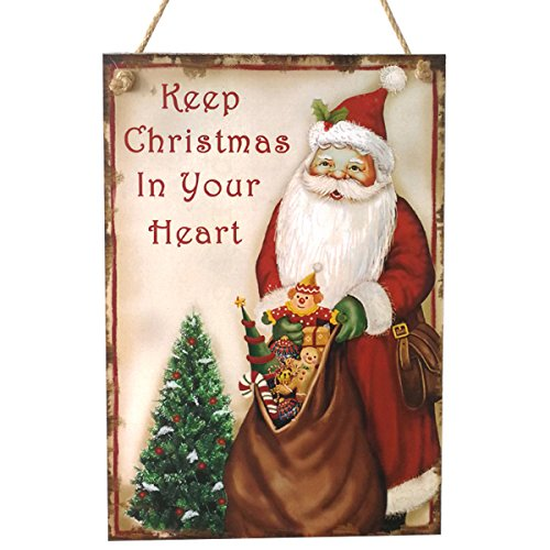 OULII Wooden Christmas Sign Wall Hanging Santa Claus Christmas Sayings Sign -