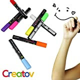 Liquid Chalk Board Window Markers - 8 Pack Erasable Pens Great for Chalkboards - Non Toxic Safe & Easy to Use Neon Bright & Vibrant Colors for All Age