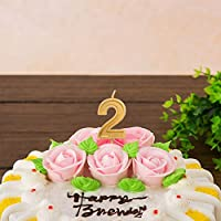 LUTER Gold Glitter Happy Birthday Cake Candles Number 8 Candle Topper Decoration For Party Kids Adults