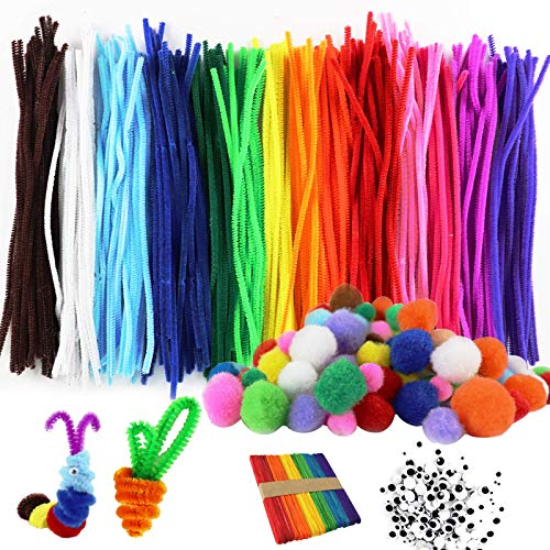 LOKiVE Craft Pipe Cleaners,280 Pcs Chenille Stems Pipe Cleaners Craft Bulk Pipe Cleaners 120 Pair Googly Eyes Rainbow Wooden Popsicles DIY Art for Kids Crafts