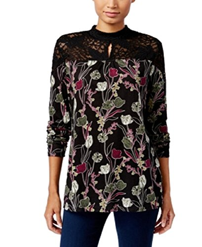 Style & Co. Lace-Trim Printed Top (Eccentric Gardens, M) - Lace Trimmed Turtleneck