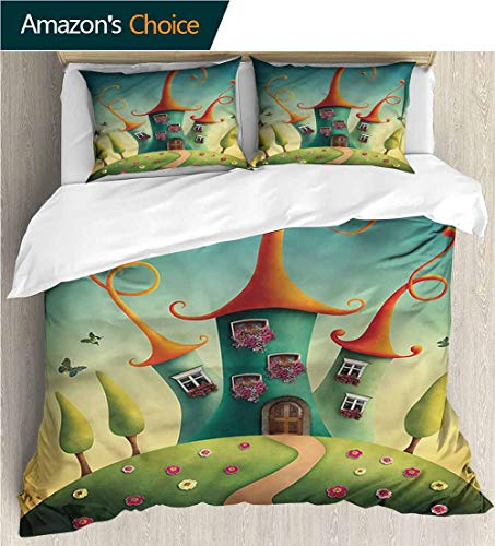 Quilt Hill Euro - VROSELV-HOME 3 Pcs King Size Comforter Set,Box Stitched,Soft,Breathable,Hypoallergenic,Fade Resistant with 2 Pillowcase for Kids Bedding-Fantasy Surreal Castle Hill Floral (87