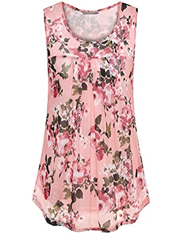 d8402c5db7d145 Furnex Women's Sleeveless Tank Tops Floral Pleated Front Mesh Blouses Tunic