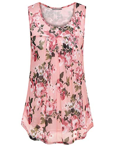 Furnex Flowy Tops for Women, Floral Tunic Tops Leggings for Women Dressy Sleeveless Chiffon Tunic Casual Swing Loose Fit Layered Tunic Tank Tops Pleated T-Shirt for Summer Casual Pink Large