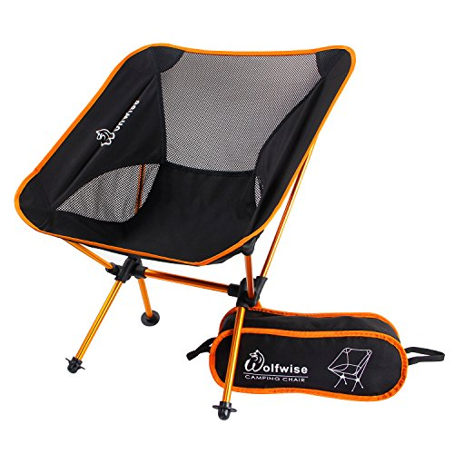 WolfWise Ultralight Folding Camping Chairs Portable Backpacking with Carry Bag and carabiner Orange