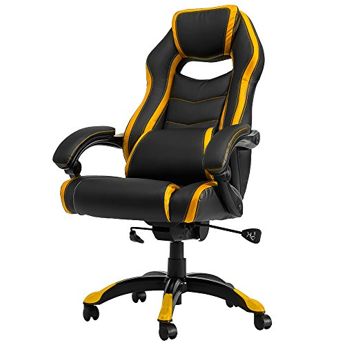 Merax High Back Spacious Racing Style Gaming Chair Recliner (Yellow) (Yellow Leather Recliner)