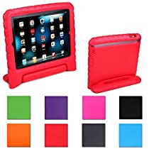 iPad Mini Case for Kids, Proof Light Weight Shockproof Protective Case with Convertible Carrying Handle Kickstand for iPad Mini (1st, 2nd, & 3rd Generation)(Red)