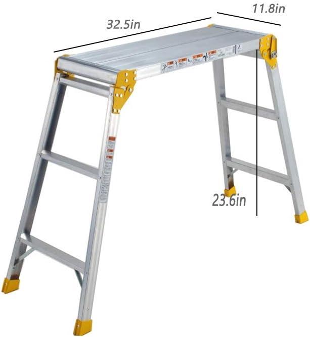 ZQY Aleación de Aluminio Grueso y Plegable Portable Conveniente Larga Escalera Plataforma de Trabajo Banco de Trabajo del cojinete 300 Libras: Amazon.es: Hogar