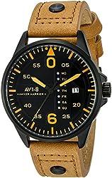 AVI-8 Men's AV-4003-0B Hawker Harrier II Stainless Steel Watch With Brown Leather Band