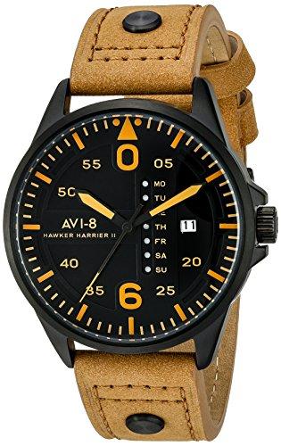 AVI-8 Men's AV-4003-0B Hawker Harrier II Stainless Steel Watch With Brown Leather...