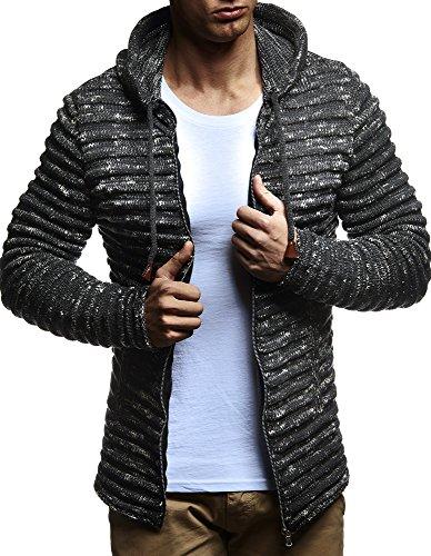 Leif Nelson LN20724 Men's Knit Jacket With Hood Knitt Zip Up Cardigan Hoodie; Size M, - Nelson Usa