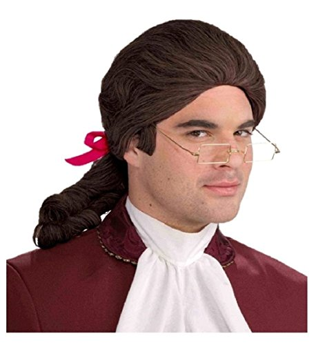 Costume Amadeus Mozart (Brown Colonial Wig Unisex Barrister Franklin Men Historical Costume)