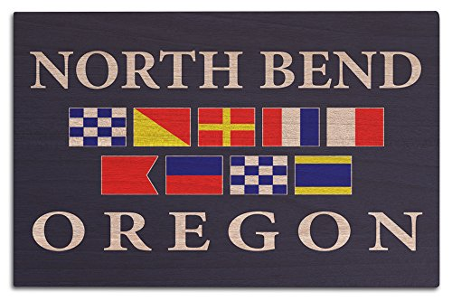 North Bend, Oregon - Nautical Flags (12x18 Wood Wall Sign, Wall Decor Ready to - North Bend