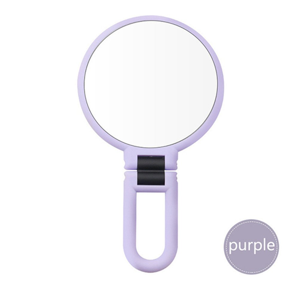 Pimples Pores 10X Makeup Mirror Magnifying Mirror With Two Suction Cups Makeup Tools Round Bathroom Handheld Mirror,Purple