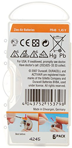 Duracell Hearing Aid Batteries Size 13 Pack 60 Batteries 1.45V by Duracell (Image #1)