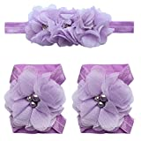 TIAOBU Baby Girls Chiffon Headband Barefoot Sandals Foot Flower Band Accessories Lavender