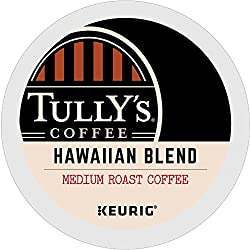 Tully's Coffee, Hawaiian Blend, Keurig Single-Serve K-Cup Pods, Medium Roast Coffee, 72 Count (6 Boxes of 12 Pods)