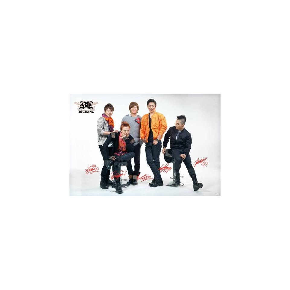 Big Bang posed white bkgrnd POSTER 34 x 23.5 red accent Korean boy band G Dragon Top Bigbang (sent FROM USA in PVC pipe)