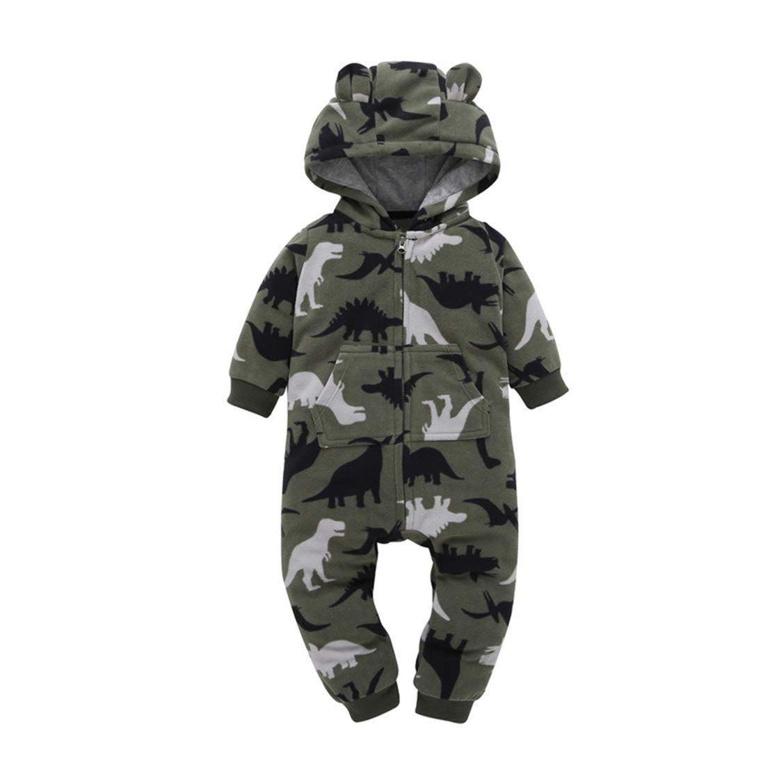 ALLAIBB Newborn Baby Boy Winter Warm Romper Jumpsuit Outfit Hooded Outerwear
