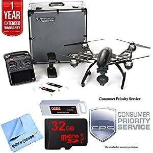 Yuneec Typhoon Q500 4K Quadcopter Drone UHD Ultimate Bundle includes Aluminum Case, Three Batteries, 32GB Card, Microfiber Cloth, and 1 Year Warranty Extension from Beach Camera