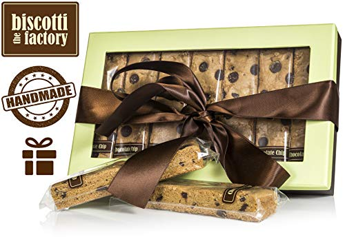 The Biscotti Factory Chocolate Chip Biscotti Gift Box, Individually Wrapped Biscottis, Hand Crafted, Gourmet Gift Basket, Father's Day Gift, Certified Kosher, No Added Preservatives (Pistachio - Chocolate Chip Biscotti