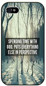 Spending time with God, puts everything else in perspective - Snow and trees - Bible verse iPhone 4 / 4s black plastic case / Christian Verses