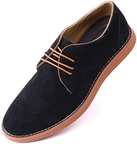 Marino Suede Oxford Dress Shoes for Men - Business Casual Shoes - Classic Tuxedo Men's Shoes (Mid Night Black - 9.5 D(M) (Casual Oxford Shoe)