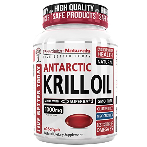 Krill Oil 1000mg/Serving 60ct Bottle Softgel Capsules Source of Pure Omega 3s EPA DHA and Astaxanthin Superba2 (TM) MSC Certified Red Oil Supplement for Mega Results Best Antarctic Fish Oil Supplement