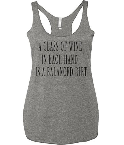 Wine Shirt For Women- A Glass Of Wine In Each Hand Is A Balanced Diet- Grey- - Buffs Glasses Cheap