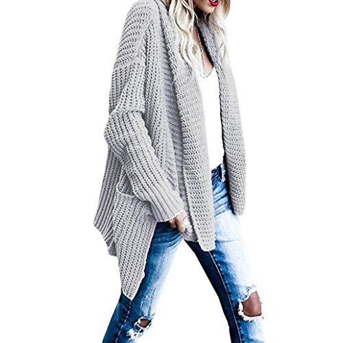 Wawer Women's Winter Acrylic Loose Fit Long Sleeve Knitted Cardigan Sweaters Pencil Outerwear With Pocket,Suitable For Any Occasion,Party Grey