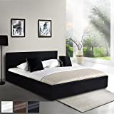Miadomodo Faux Leather Bed with Slatted Frame Spacious Bed Base with Integrated Linens Storage Space (Black, 140x200 cm)