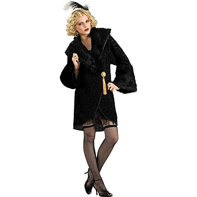Flapper Costumes, Flapper Girl Costume Faux-Fur Trimmed Chiffon Flapper Costume Coat $47.84 AT vintagedancer.com