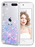 wlooo ipod touch case, iPod Touch 6 gen Case, ipod case, Glitter Liquid Quicksand Clear Transparent Flowing Soft TPU Bumper Silicone Phone Cover for iPod Touch 5 / iPod Touch 6 -Pink&Blue