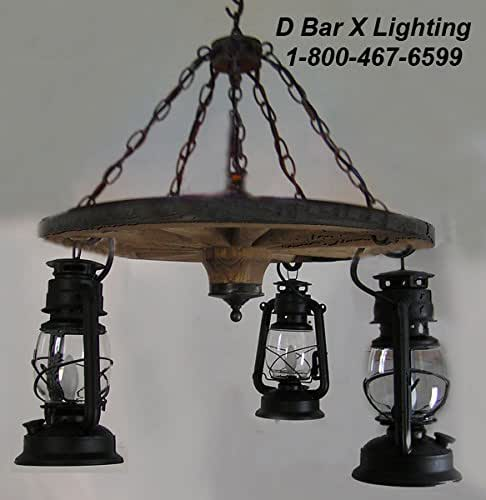 Wagon Wheel Rustic Chandelier Western Decor Pendant Light: 24-Inch Dia. Rustic Wagon Wheel