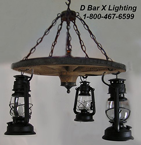 - WW026-24-3 - 24-Inch Dia. Rustic Wagon Wheel Chandelier Light Fixture With Hanging Lantern Lights