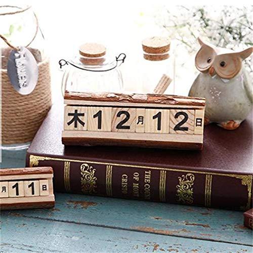 (Wood Calendar Block Desk Organizer Calendar 2019 Desktop Calendar Office Ornaments for Christmas Gift Box Packaging by)
